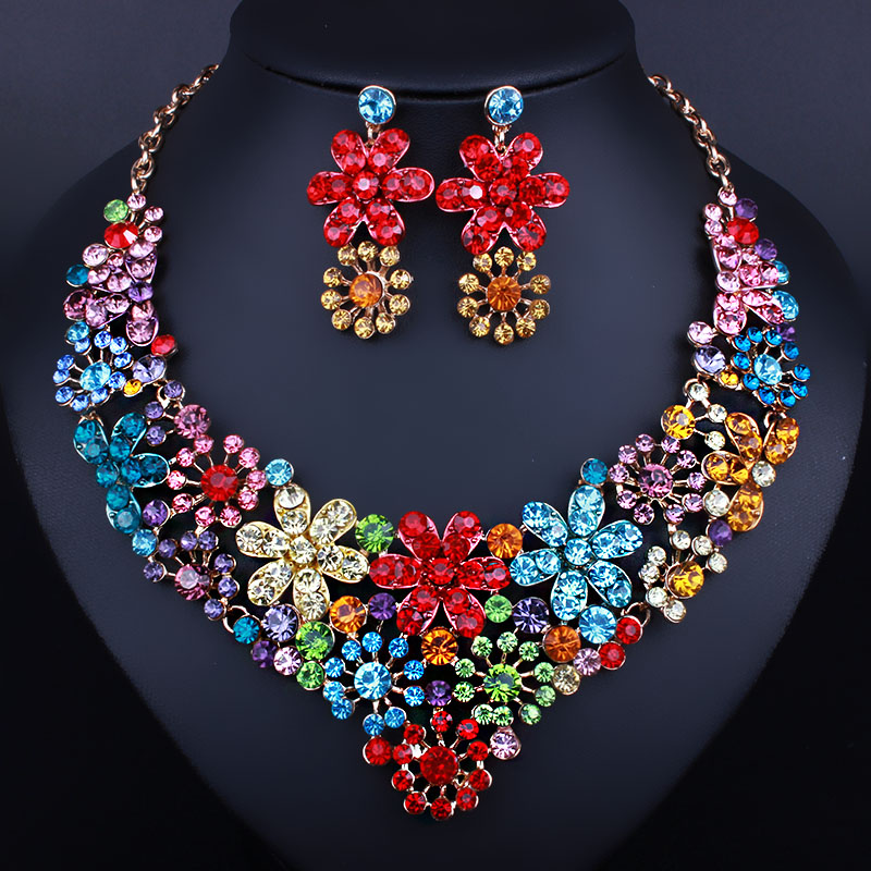 Wedding Jewelry Fashion Statement Good Quality Jewelry Sets Za Brand Elegant Crystal African Beads Jewelry Sets