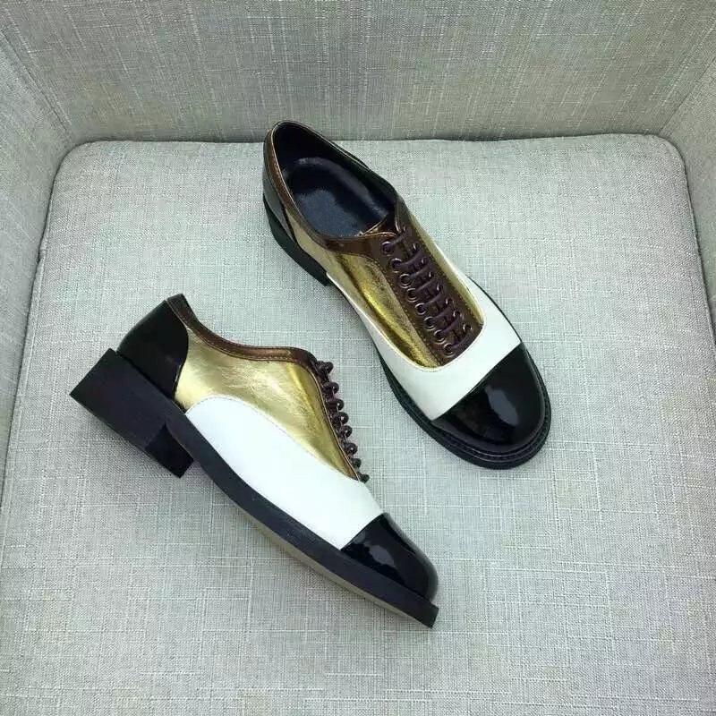 Style Femme Preppy Cuir Mélangée En Gold Britannique Bout Croix Or Verni Patchwork attaché Chaussures Couleur Rond Casual Derby UAIx5qw