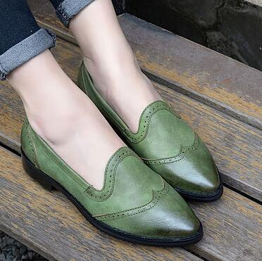 Preppy style Casual Women Flats Pointed toe Vintage Oxfords Loafers Spring/Autumn PU leather Breathable Lady Brogue Shoes 1.9