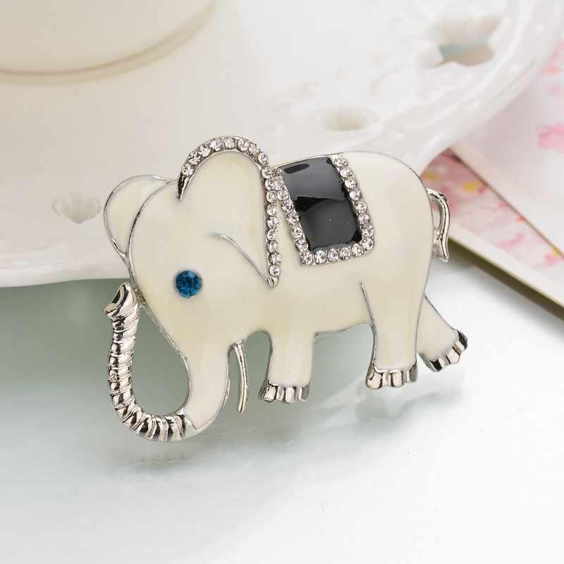 Indah Besar Gajah Rhinestone Bros Wanita Logam Korsase Perhiasan Kualitas Tinggi Cocok Topi Bros Pin Pernikahan Aksesoris