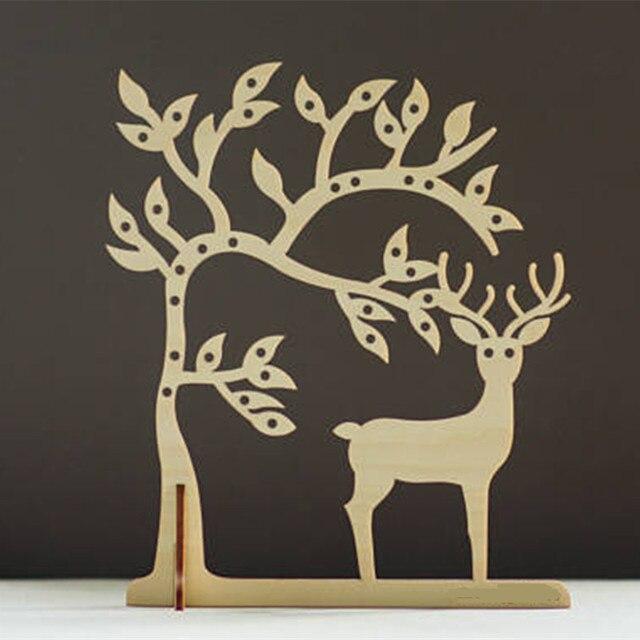 Laser Cut Wood Deer Jewelry Storage Tree Earring Holder Jewellery Organizer Stand Necklace Stud Earrings