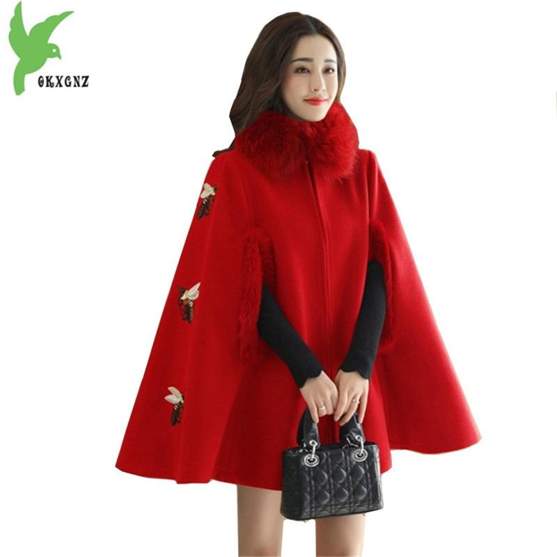 Cloak Windbreaker Women Autumn Winter Woolen Jackets Embroidery Little bee Woolen cloth Shawl Coats Sleeveless Cloak OKXGNZ 1400