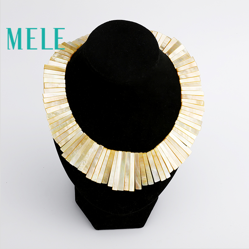 MELE Natural shell necklace pendant for women, Fashion meteor collar. trendy and popular . Manual work Handmade trendy gothic vivid beaded pendant lace necklace for women