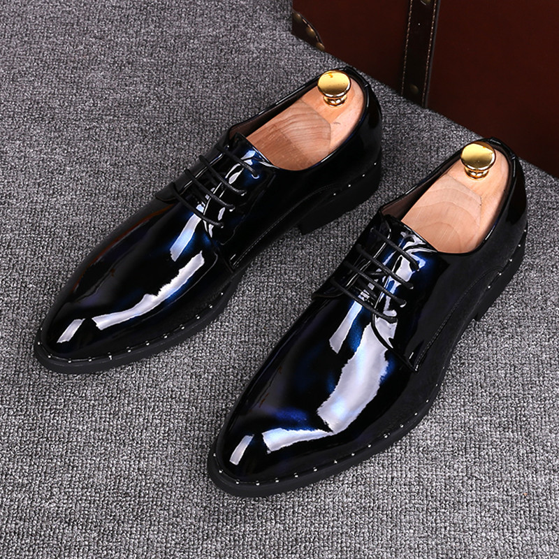 2017 Fashion Italian designer mens dress shoes Patent leather Lace-Up Pointed Toe Business Wedding Formal Flats High Quality fashion top brand italian designer mens wedding shoes men polish patent leather luxury dress shoes man flats for business 2016