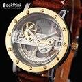 Antigo Turbilhão Automático dos homens de Luxo Relógios Mecânicos Transparentes relogios masculino Masculino Pulseira de Couro relógio de Pulso Novo