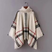 Mr.nut new high collar pullover fashion lattice tassel loose female street dress shawl knit sweater pullover shawl collar sweater