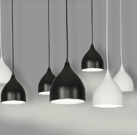 Modern Simple Northern European Style Pendant Light Fixtures,Black&White&Red Dining Room Pendant Lamps For Home Decor PLL 31
