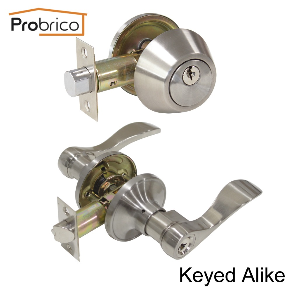 Probrico Lever Stainless Steel Keyed Alike Entrance Door Lock With Deadbolt Satin Nickel Door Handle Knob DL12061ET-101SN master lock m5xd magnum keyed padlock