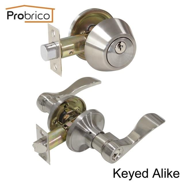 Probrico Lever Stainless Steel Keyed Alike Entrance Door Lock With Deadbolt  Satin Nickel Door Handle Knob