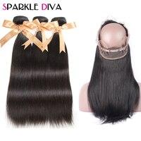 Sparkle Diva Hair Brazilian 360 Lace Frontal Closure With Bundles Straight Human Hair Weave 3 Bundles