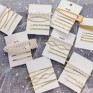 Timlee Hair-Clip-Set Pearl-Alloy Barrettes Fashion Cute Sweet H019 Geometry Imitation
