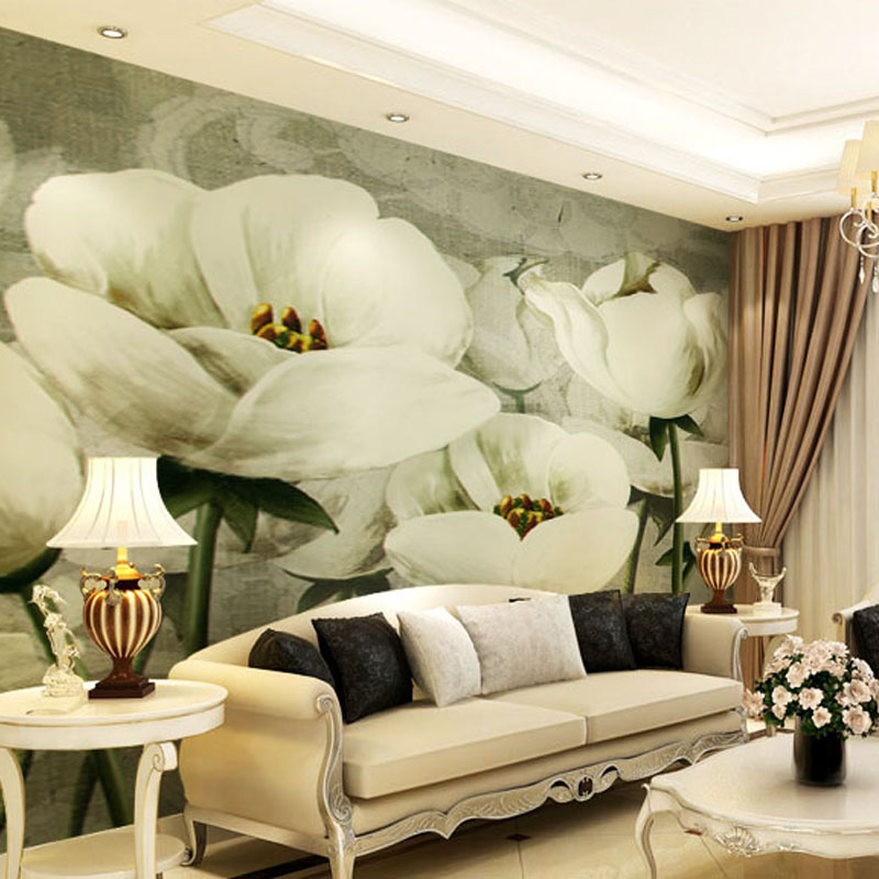 Custom 3d mural wallpaper European oil painting wallpaper sofa TV background wall European style TV tulip wallpaper mural