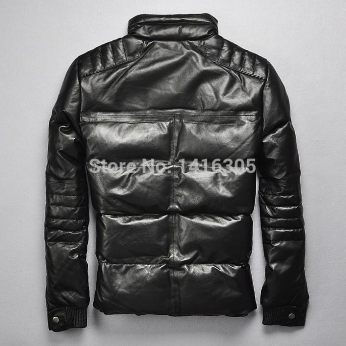 € 362.42  Schott hombre del cuero genuino de la chaqueta casual blanco plumas de ganso capa delgada marca por la chaqueta abrigo de invierno chaqueta