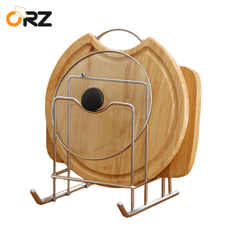 ORZ Pot Lid Shelf Holder Kitchen Knife Block Stand Pan Cover Rack Cutting Board Organizer Stainless Steel Kitchen Storage Rack