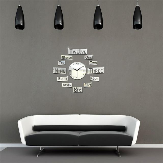 Wanduhr modernes Design Englisch Buchstaben Uhr Wand 3D Acryl ...