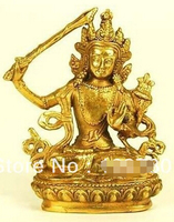 free shipping BRONZE SEATED MANJUSRI STATUE Figurine Buddhism Juana Mudra Wisdom Feng Shui 4