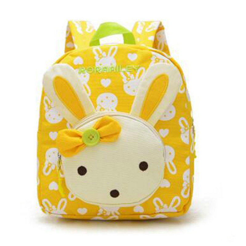 New Kids Lovely Cute Children School Bags Rabbit Bear Dolls Applique Canvas Backpack Mini Baby Toddler Book Bag Kindergarten