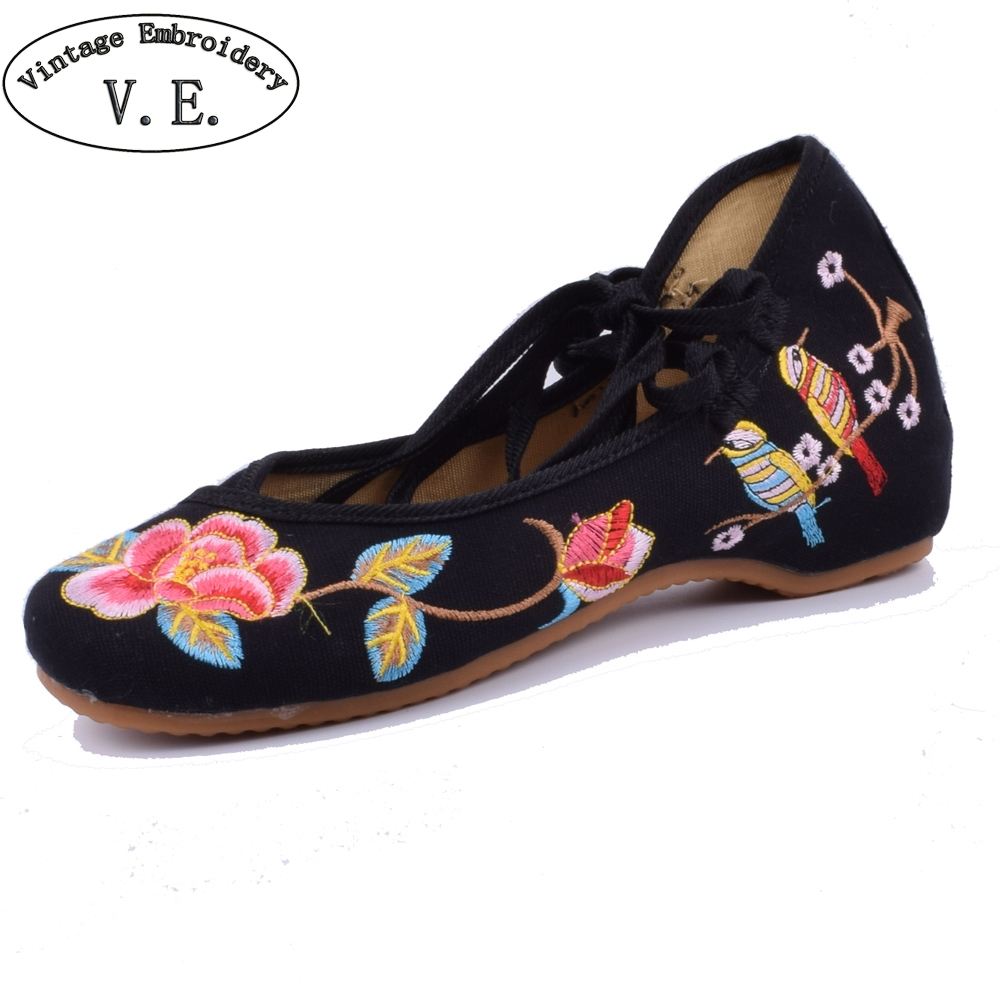 Vintage Embroidery Spring Autumn Flat Shoes Woman Magpie Bird Embroidered Lace Up Ballet Flats Casual Chaussures Femme Size34-41 color block bird embroidered raglan sleeve zip up jacket
