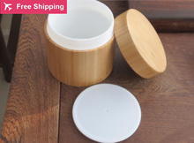 Free shipping high quality 100g 5/10pcs/lot bamboo cream jar inner PP body care cream jar,bamboo packing bottle