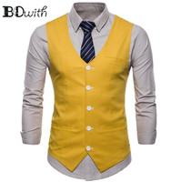New Arrival Yellow Men's Sleeveless Slim Fit Suit Vest Single Breasted Five Buttons Business Dating Wedding Dress Waistcoat