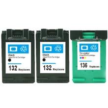 vilaxh 132 136 Compatible Ink Cartridge Replacement for HP 132 136 For Photosmart 2573 C3183 D5163 PSC 1513 Deskjet 5443 Printer