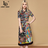 LD LINDA DELLA Designer Skirts Two Pieces Set Women's Elegant Floral Printed Blouses and Vintage Pleated Midi Skirt Sets Suits