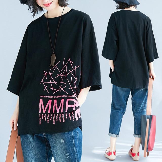 92108fa39d4 Plus Size 4XL 2018 Summer Women Fashion Letter Print Tops Tee Ladies Female  Large Big Short Sleeve Loose Cotton Femme T shirt