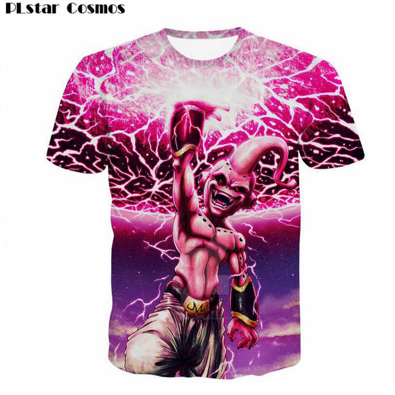e104b5cc6d4 PLstar Cosmos Men Fashion Summer t shirt Anime Dragon Ball Z Majin Buu Goku  print