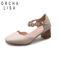 ORCHA LISA Spring Female Dress Shoes Woman Square High Heels Pearl Ankle Strap Wedding Comfortable Ladies Pumps PU Leather Pink