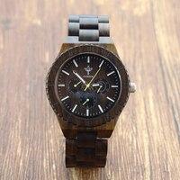 6 Hands Mens Watches Top Brand Luxury Wood Watch Eco friendly Black Sandalwood Men Sport Watch Relogio Masculino