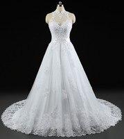 Vestido de novia Opacidad Volver Sexy Vestido de Novia vestido de Novia de Alta Cuello Appliqued Cordón Vestidos de Boda