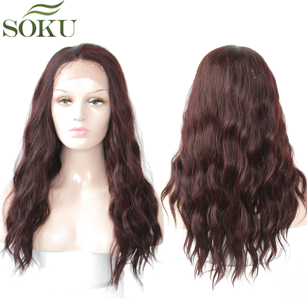 SOKU Wig Dark-Roots Lace-Front Synthetic Black-Women Long-Wig Baby-Hair Redwine Natural