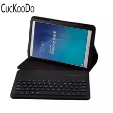 CucKooDo Leather Case Removable Bluetooth Wireless Keyboard for Samsung Galaxy Tab E 9.6 SM-T560 SM-T561 Tablet