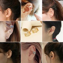 2018 new gold and sliver color pendientes clip on earrings cuff earrings ohrringe non pierced pearl earring ohrringe orecchini