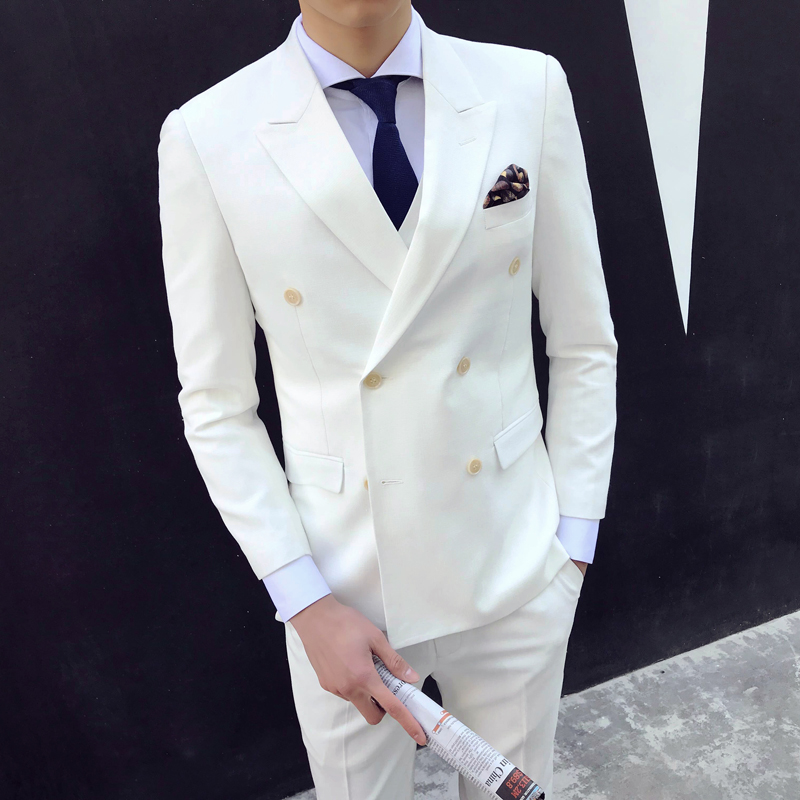 Mens Double Breasted Suits White Suit Prom Slim Fit Wedding Dress Men 2018 Formal