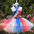 retail baby 2layer tutu dress beautiful fluffy patriotic evening dress with matched headband for babies  2pcs/set free shipping