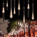 1Set With Tail Plug 30cm 144LED Light Meteor Shower Rain 8 Tubes Snowfall Tree Garden Festival Decoration Lighting 110v 220v