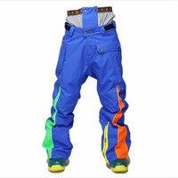 Открытый дышащие лыжные штаны черный и белый двухэтажный лыжные штаны, мужской ветрозащитный, водонепроницаемый, зимние Утепленные Хлопко