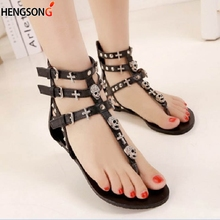 Metail Skull Sandals For Women Summer Shoes Roman Style Gladiator Sandals  Shoes Woman Flip Flop Flats 02fe34faef14