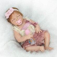 55 cm Completo de Silicona Renacer Sleeping Baby Doll Toy 22 inch Realistas Recién Nacido Princesa Toddler Bebés Alive Muñeca Bonecas