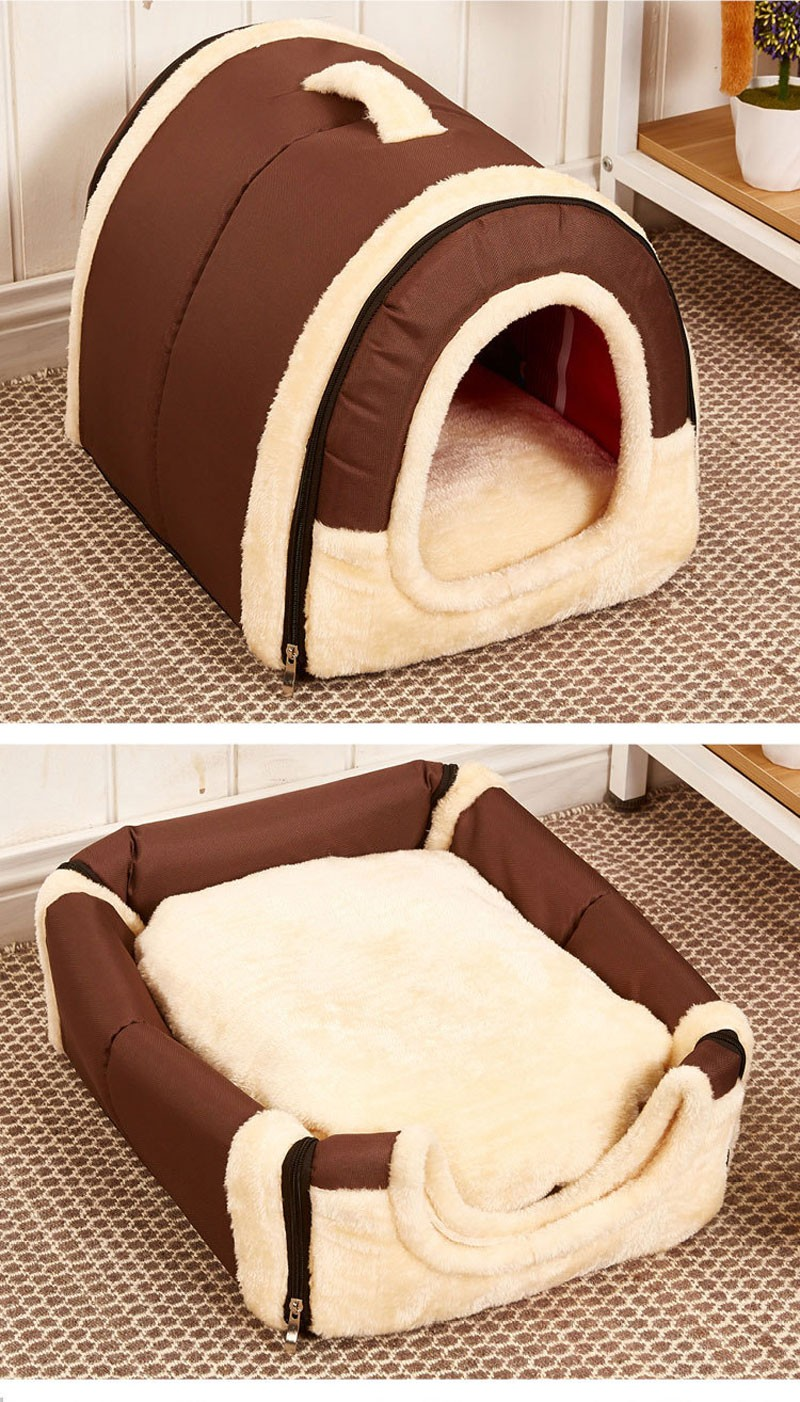 CAWAYI KENNEL Dual Use Soft Plush Dog Bed Dog Kennel Pet House For Puppy Dogs Cat Small Animals Mat U0856 13