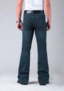 Image 5 - Mens התלקח רגל ג ינס מכנסיים גבוה מותן ארוך התלקחות ג ינס לגברים Bootcut כחול ג ינס Hommes פעמון תחתון ג ינס גברים