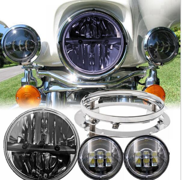 1X 7inch 30w Led headlight Daymaker + 2pcs 4.5 LED Fog Light lamp + 1 7 mountinig brackets for daymaker Harley David son motor 7inch motorcycle daymaker replacement led headlight
