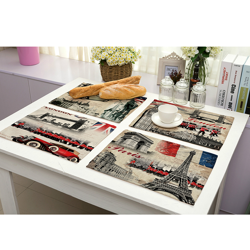 1Pc European Style Printing Waterproof cotton Linen Placemat Bowl Pad Dining Table Mat Heat Insulation Pads Slip-Resistant Mat