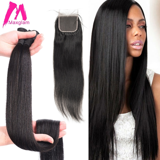 30 inch 40 inch bundles with closure Straight Virgin Remy brazilian hair weave bundles human hair extension 3 bundles 4 bundles