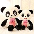 Presente para o bebê 1 pc 40 cm sorriso bonito bowknot panda de pelúcia boneca espera travesseiro namorada novidade aniversário brinquedo de pelúcia