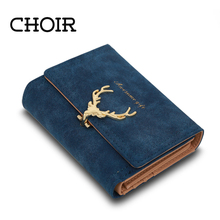Choir Latest Christmas Deer Women Leather Wallet VintageTri-Folds Luxury Cash  Purse Girl Small Black Clutch coin purses holders