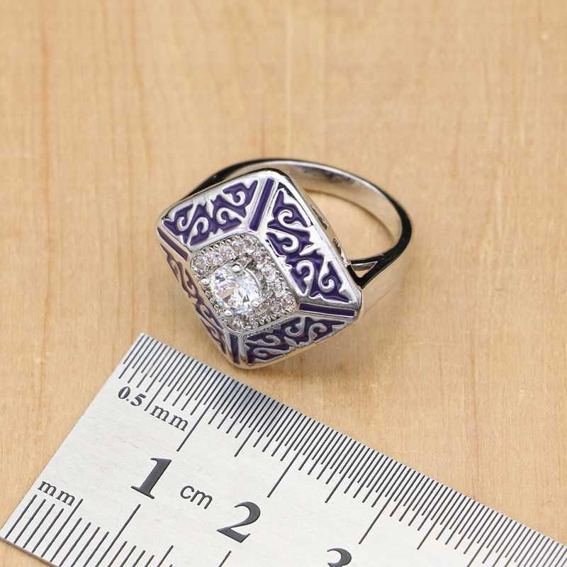 Étrange violet Lucite blanc zircone bijoux 925 argent bijoux de mariée ensembles pour femmes boucle d'oreille/pendentif/anneau/Bracelet/collier ensemble