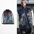 2016 New Kanye West Baseball Jacket Embroidery Bomber Jacket Men Women Tiger Eagle Souvenir Jacket Coat Vintage Silk Jacket