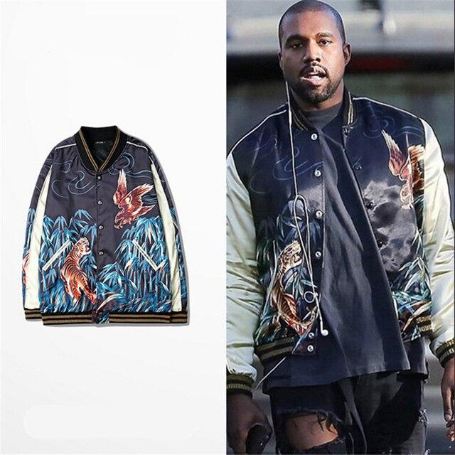 New kanye west baseball jacket embroidery bomber